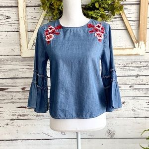 Express Denim Chambray Floral Bell Sleeve Top XS